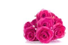 Blumenstrauß von rosa Plastikrosen, mit Leerstelle für addieren Text Stockbild