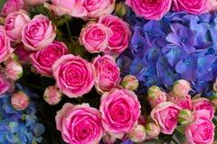 Blumenstrauß von rosa Rosen und von blauem Hortensia lizenzfreie stockbilder