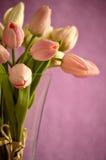 Blumenstrauß von rosa und weißen Tulpen in einem Glasvase Lizenzfreies Stockfoto