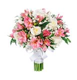 Blumenstrauß von Rosen, von alstromeries und von gypsophilas Stockfoto