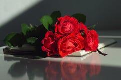 Blumenstrauß von roten Rosen auf dem Notizbuch Stockfoto