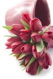 Blumenstrauß von roten Tulpen Stockbild