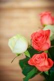 Blumenstrauß von roten und gelben Rosen Stockbild