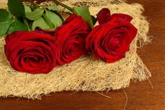 Blumenstrauß von schönen roten Rosen auf einer dunklen Hintergrundnahaufnahme Stockfotografie