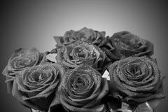 Blumenstrauß von Schwarzweiss-Rosen Lizenzfreie Stockfotos