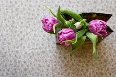 Blumenstrauß von Tulpen in einer Papiertüte auf einem beige Hintergrund Stockbilder