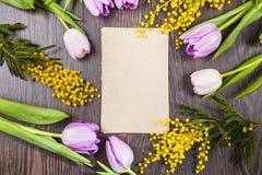 Blumenstrauß von Tulpen, von Mimose und von Papier Stockbilder
