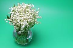 Blumenstrauß von Waldlilien Convallaria stockbilder