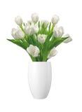 Blumenstrauß von weißen Tulpen im Vase lokalisiert auf Weiß Stockfoto