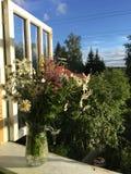 Blumenstrauß von wilden Blumen auf dem Fensterbrett Lizenzfreie Stockfotografie