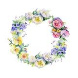 Blumenstraußblumenkranz in einer Aquarellart Stockfoto