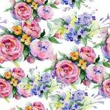 Blumenstraußblumenmuster in einer Aquarellart Stockbilder