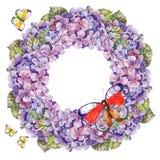 Blumenstraußhortensieblume, Girlandenschmetterlingsaquarell Lizenzfreies Stockfoto