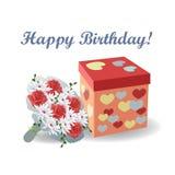 Blumenstrauß von roten Rosen mit einer Geschenkbox mit Herzen Vektorabbildung auf weißem Hintergrund stock abbildung
