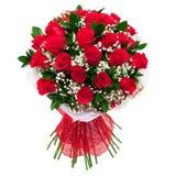 Blumenstrauß der roten Rosen getrennt Lizenzfreie Stockbilder