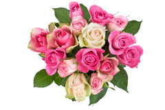 Blumenstrauß der weiß-rosafarbenen Rosen Lizenzfreie Stockbilder