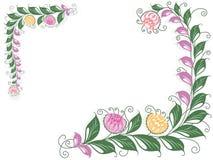 Blumenstrudelpostkarte mit blühender Liane lizenzfreie abbildung