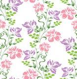 Blumentapete der nahtlosen Vektorphantasie auf weißem Hintergrund Stockfoto