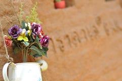 Blumentopf auf Lehmwand Stockfotos