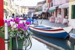 Blumentopf vor einem Boot Stockfoto