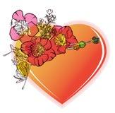 BlumenValentinsgrußinneres stock abbildung