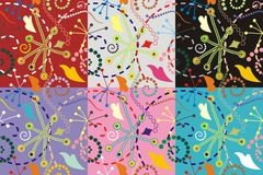 Blumenvektor und nahtloses Muster stock abbildung