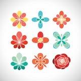Blumenvektorfarbikonen und -logo Lizenzfreies Stockfoto