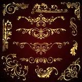 Blumenvektorsatz goldene aufwändige Seitendekorelemente mögen Fahnen, Rahmen, Teiler, Verzierungen und Muster auf Dunkelheit Stockbilder