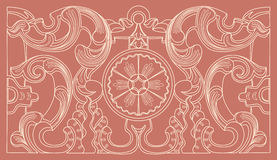 Blumenverzierung der barocken Geometrie der Weinlese Stockbild