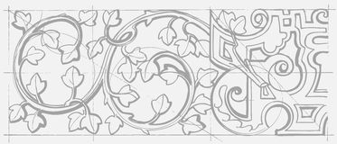Blumenverzierung der barocken Geometrie der Weinlese Lizenzfreie Stockfotografie