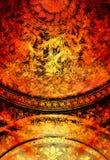 Blumenverzierung Filigrane auf abstraktem backgrond, Computercollage Feuer-Effekt lizenzfreie abbildung