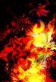 Blumenverzierung Filigrane auf kosmischem backgrond, Computercollage Feuer-Effekt vektor abbildung