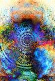 Blumenverzierung Filigrane mit Mandalaform auf kosmischem backgrond, Computercollage vektor abbildung