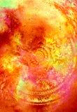 Blumenverzierung Filigrane mit Mandalaform auf kosmischem backgrond, Computercollage Feuer-Effekt lizenzfreie abbildung