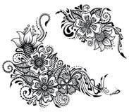 Blumenverzierung in Indien-Zauntritt lizenzfreie abbildung
