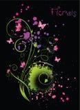 Blumenverzierung mit dem Mehrfarben grunge spritzt Stockfotos