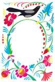 Blumenverzierung mit einem Vogel Stockfotos
