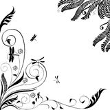 Blumenverzierung mit Libellen: Vektor Lizenzfreies Stockbild