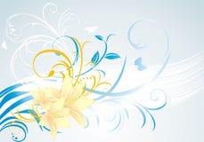 Blumenverzierung mit Lilien auf dem blauen Hintergrund Stockfoto