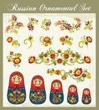 Blumenverzierungen in der russischen Art Lizenzfreie Stockfotos