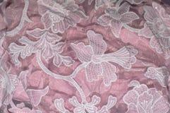Blumenverzierungs-Rosa-Gewebe Stockfotografie