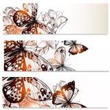 Blumenvisitenkartesatz mit Schmetterlingen und Blumen für DES Stockfotografie