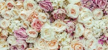 Blumenwandhintergrund mit dem Überraschen von roten und weißen Rosen, Heiratsdekoration, handgemacht Lizenzfreie Stockfotografie