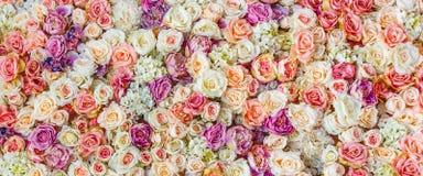 Blumenwandhintergrund mit dem Überraschen von roten und weißen Rosen, Heiratsdekoration, handgemacht Stockfotografie
