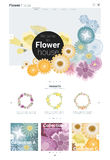 Blumenwebsiteschablonenfahne und infographic 1 Stockfotografie
