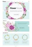 Blumenwebsiteschablonenfahne und infographic 3 Stockbild