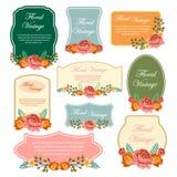 Blumenweinlese-Aufkleber Lizenzfreie Stockfotos