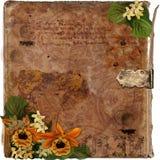 Blumenweinlesebuch grunge Hintergrund Stockfoto