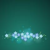 Blumenweinlesehintergrund mit Vergissmeinnicht blüht auf einer Dunkelheit lizenzfreie abbildung