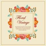 Blumenweinlesekarte Stockfotos